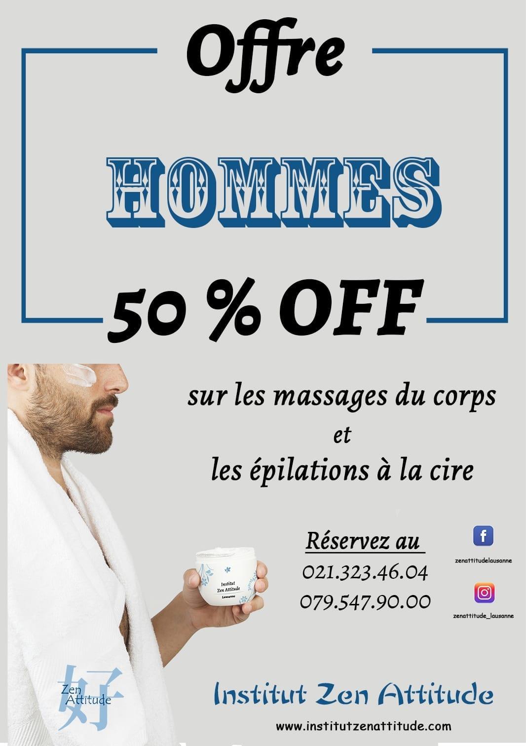 Offre Hommes epilation et massages lausanne